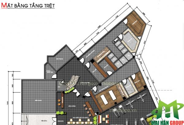 Bản vẽ thiết kế tổng thể tầng trệt spa Capsaint Jaques Thùy Vân, Vũng Tàu do Mai Hân Group thực hiện