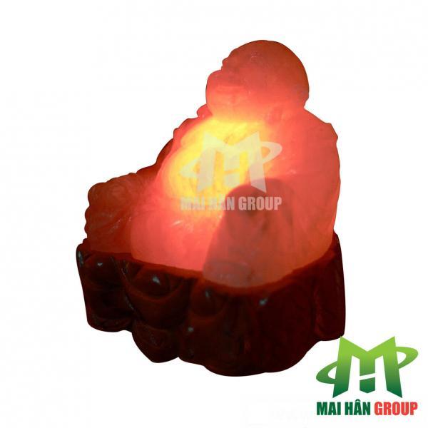 Đèn đá muối hình tượng Phật Di Lặc ngồi